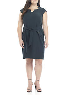 Plus Size Belted Stretch Crepe Dress