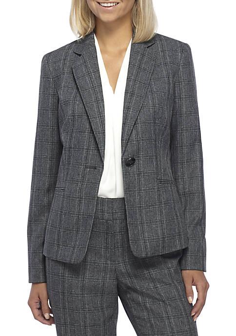 Kasper Button Plaid Jacket