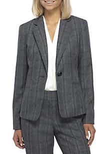 Petite Button Plaid Jacket