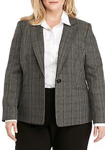 Plus Size One Button Plaid Jacket