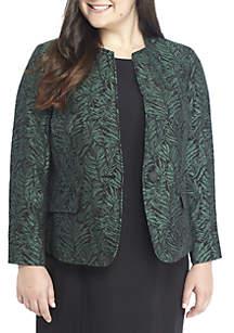 Plus Size One Button Leaf Jacquard Jacket