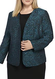 Plus Size Metallic Jacquard Animal Print Flyaway Jacket