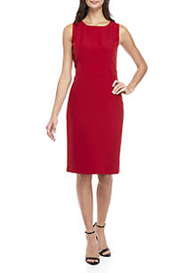 Petite Sleeveless Sheath Crepe Dress