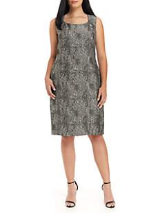 Plus Size Sleeveless Jacquard Dress