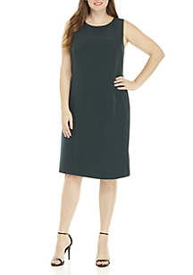 Plus Size Stretch Crepe Sheath Dress