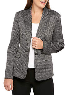 One Button Houndstooth Jacket With Sleeve Patches