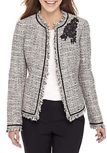 Petite Sparkle Tweed Fly Away Jacket