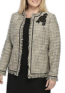 Plus Size Sparkle Tweed Flyaway Jacket