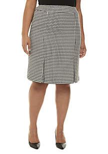 Plus Size Houndstooth Skirt