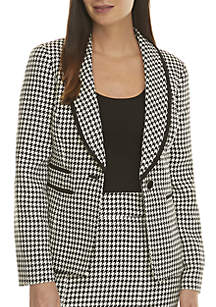 Shawl Collar Houndstooth Jacket
