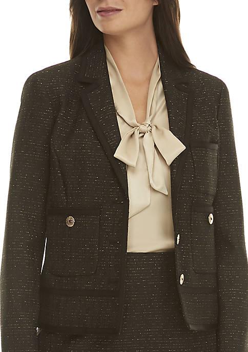 Kasper 3-Button Metallic Tweed Jacket