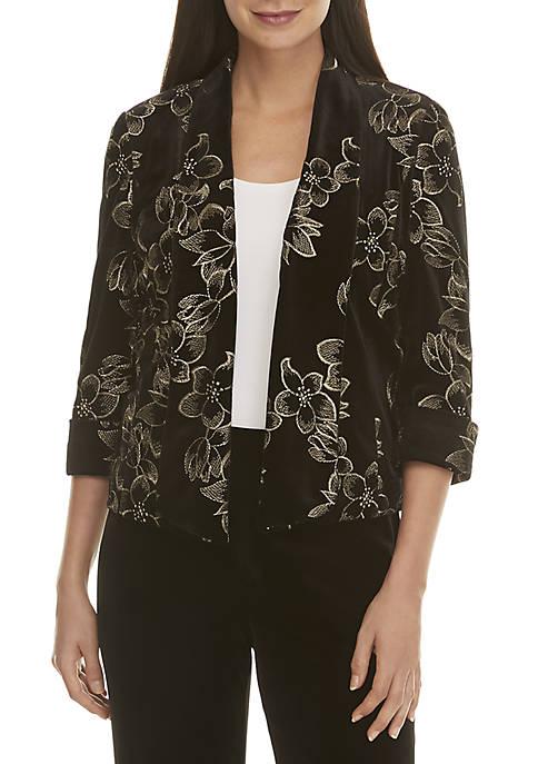 Kasper Embroidered Velvet Flyaway Jacket