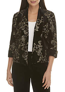 Embroidered Velvet Flyaway Jacket
