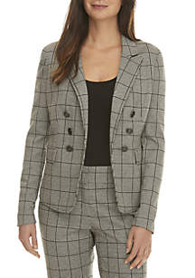 Petite Plaid Double Breasted Button Jacket