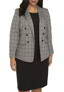 Plus Size Plaid Double Breasted Jacket