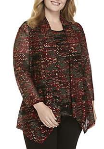 Plus Size Drape Front Novelty Cardigan