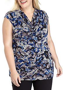 Plus Size Cap Sleeve Cowl Neck Print Blouse