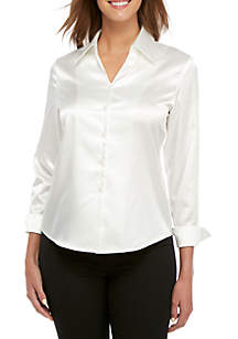 Long Sleeve Wide Collar Charmeuse Blouse