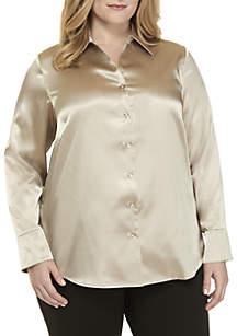Plus Size Long Sleeve Charmeuse Blouse