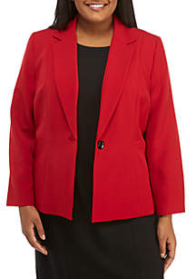 Plus Size One-Button Stretch Crepe Jacket