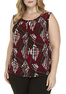 Plus Size Houndstooth Print Tank