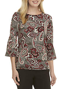 Bell Sleeve Paisley Knit Top