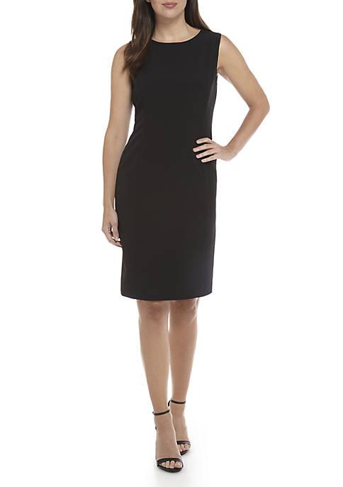 Kasper Womens Sleeveless Crepe Sheath Dress