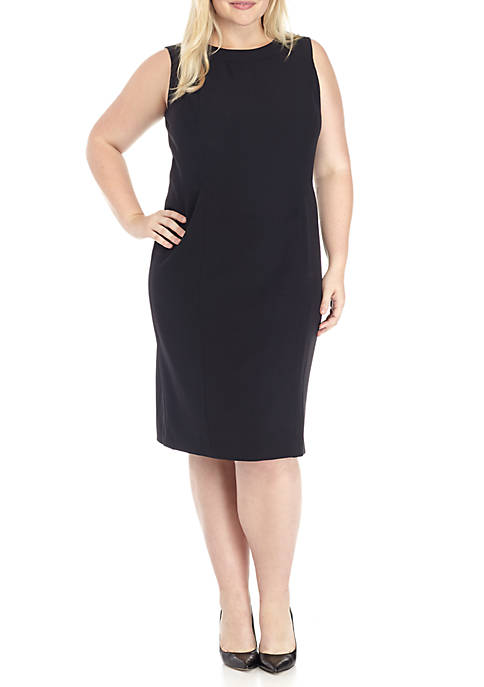 Kasper Plus Sleeve Sleeveless Crepe Sheath Dress