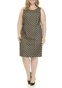 Plus Size Bonded Lace Sheath Dress