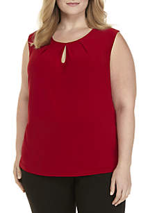 Plus Size Solid Keyhole Cami