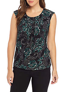 Cap Sleeve Floral Paisley Top