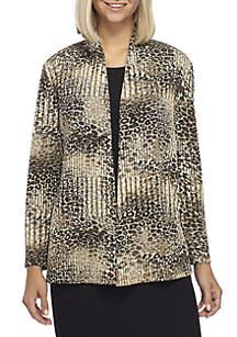 Leopard Print Texture Knit Cami Sweater