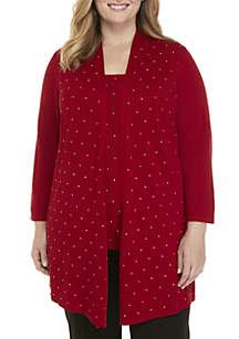 Plus Size Cardigan with Stud Details