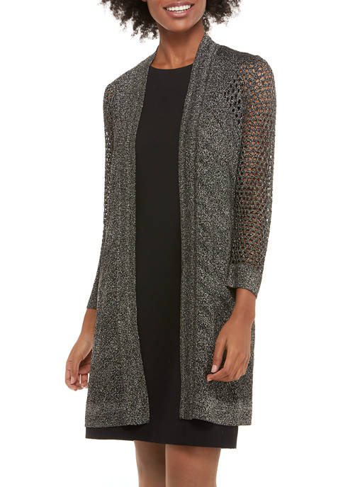 Kasper Womens Shimmer Pointelle LUREX® Duster Cardigan