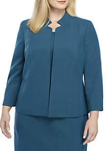 Plus Size Stand Collar Cross Dye Twill Jacket