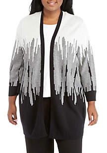 Plus Size 3/4 Sleeve Intarsia Cardigan