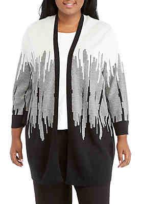 ebf1808e51 Kasper Plus Size 3 4 Sleeve Intarsia Cardigan ...