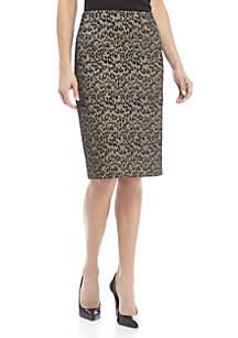 Animal Print Jacquard Skirt