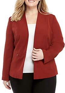Plus Size V-neck Flyaway Crepe Jacket