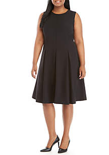 Plus Size Crepe Fit and Flare Dress