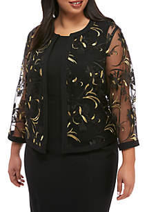 Plus Size Embroidered Mesh Fly Away Jacket