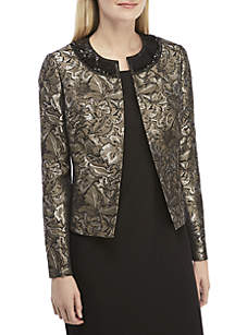 Jewel Neck Jacquard Flyaway Jacket