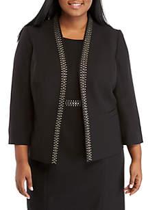 Plus Size Flyaway Jacket with Embellishments