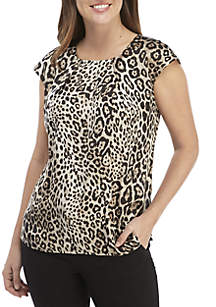 Cap Sleeve Animal Print Top
