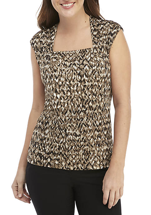 Sleeveless Square Neck Printed Knit Top
