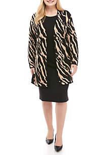 Plus Size Open Zebra Print Cardigan