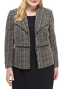 Plus Size Knit Jacquard Jacket