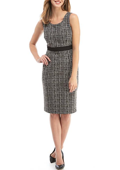 Kasper Sleeveless Knit Jacquard Dress