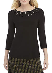 3/4 Sleeve Knit Top with Embellished Neck