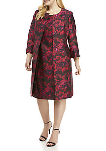 Plus Size Abstract Print Suit Jacket